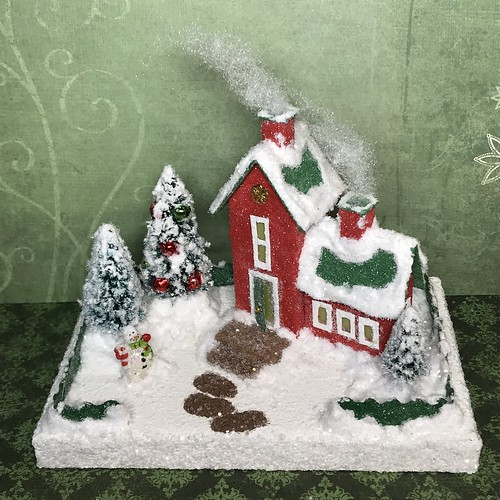 Tiny red and green Putz house with snowman