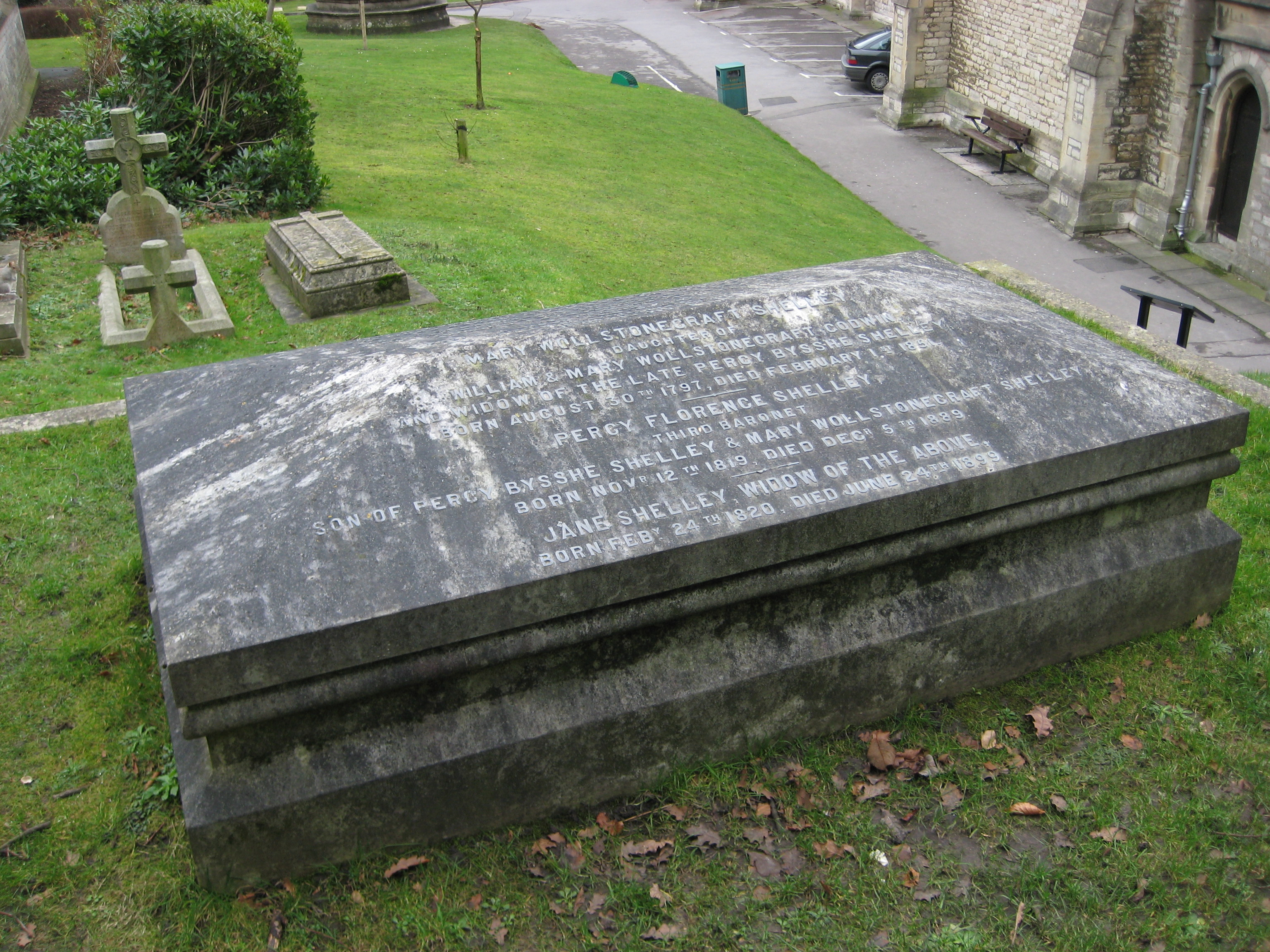 In order to fulfil Mary Shelley's wishes, Percy Florence and his wife Jane had the coffins of Mary Shelley's parents exhumed and buried with her in Bournemouth. Photo taken on January 13, 2008.