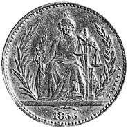 1855 Paraguay 4 pesos reverse