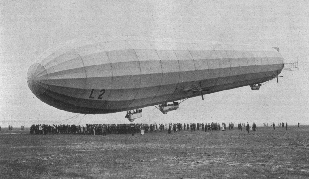 The German Zeppelin LZ 18 (L 2) at Berlin-Johannistal, circa 1913.