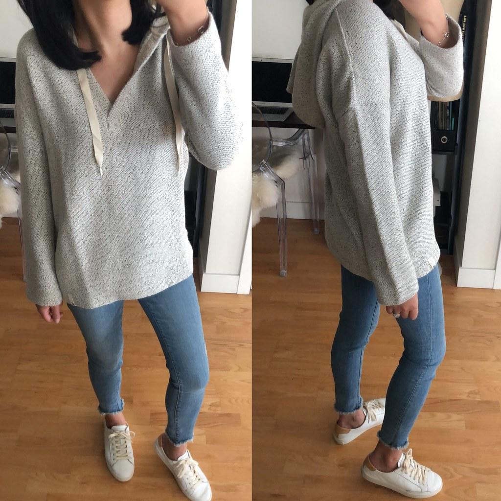 Lou & Grey Tweed Hoodie Top, size XXS regular
