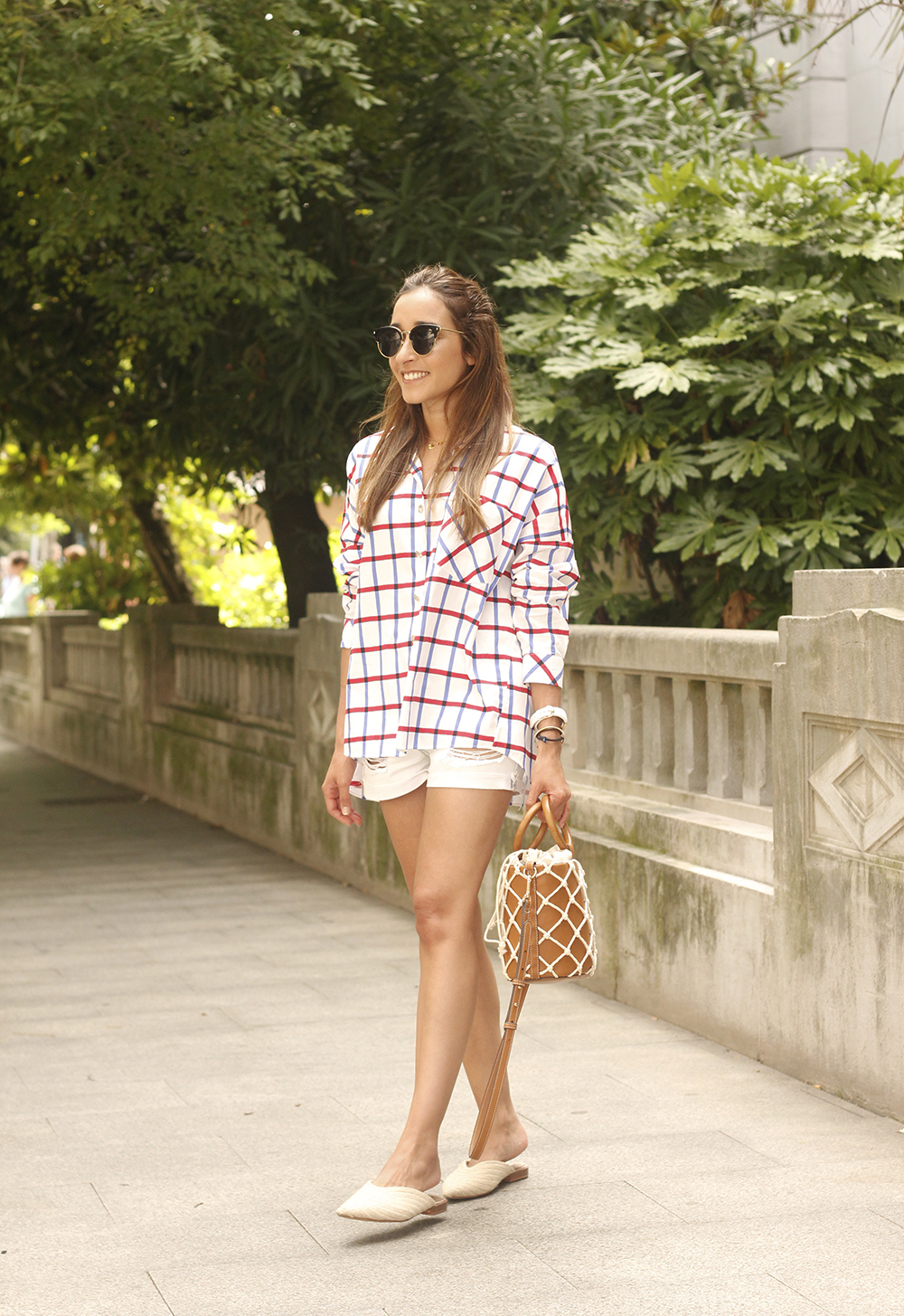 oversize plaid shirt denim shorts white mules street style summer outfit 201807