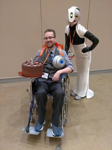 San Japan attendees in anime costume and wheelchair