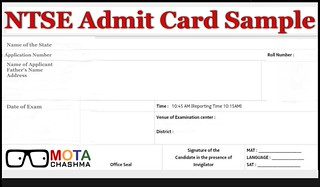 NTSE Admit Card Sample