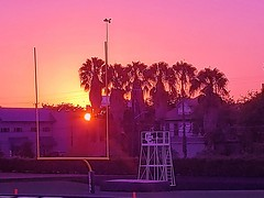 Sunset at a Football scrimage