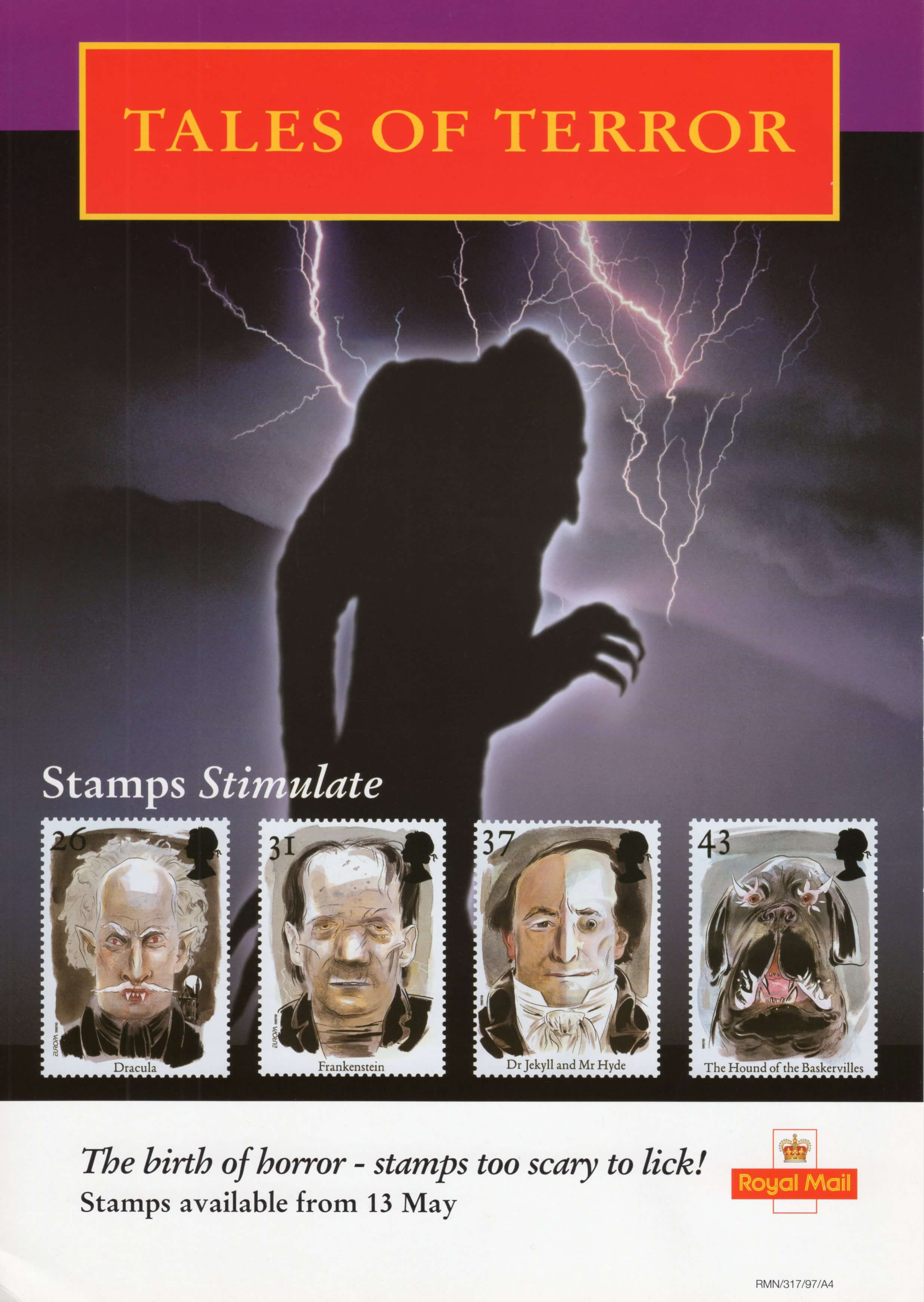 Royal Mail poster for the 1997 Tales of Terror stamp issue