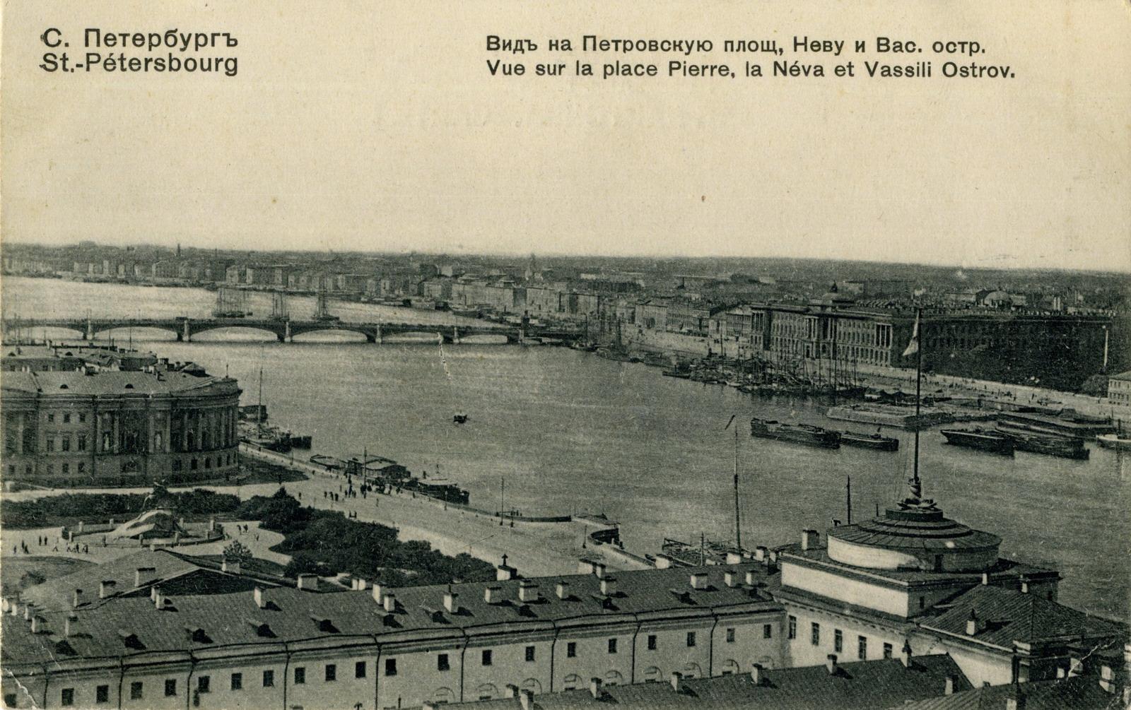 Вид на Петровскую площадь, Неву и Васильевский остров