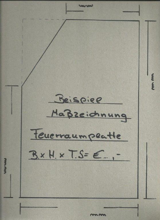 Maßblatt für Feuerraumplatte auf Maß