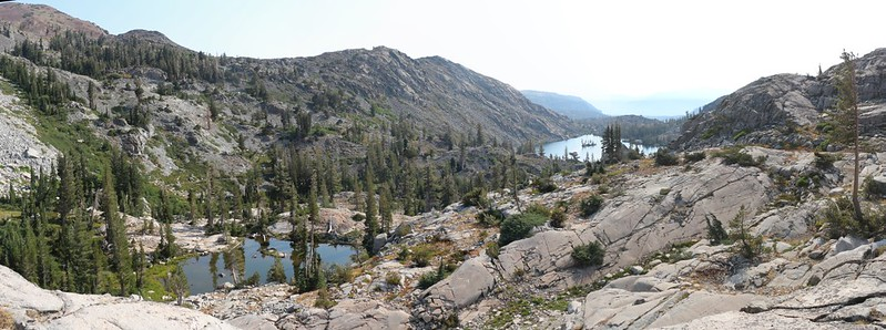 Looking east toward Heather Lake from the junction of the PCT and Rubicon Trail near Lake Aloha