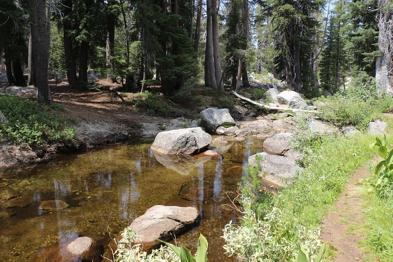 In August 2018 the Rubicon River was very slow and peaceful where the Rubicon Trail crossed it