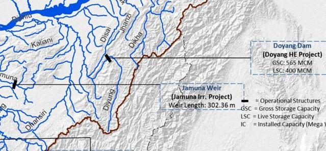 डब्ल्यूआरआईएस मानचित्र में धनसिरी बेसिन में दोयांग बाँध