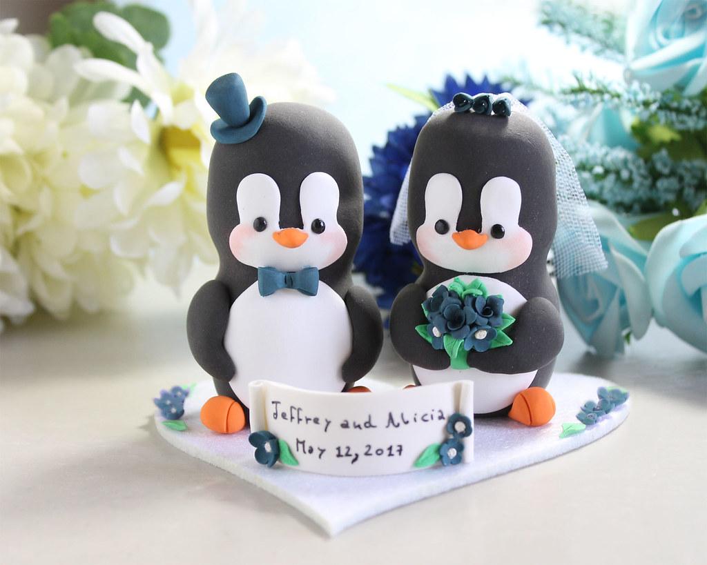 Penguin Wedding Cake Topper Navy Blue Larger Size Ba