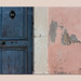 blue door and pink wall (stone, wood, paint, time) by sandrorotonaria