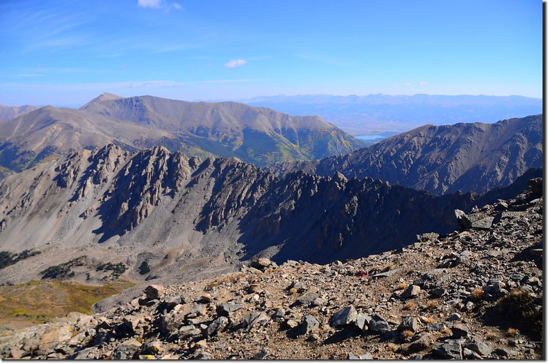 Looking north at Mount Elbert & Twin Lakes from the trail near 14,000 ft.