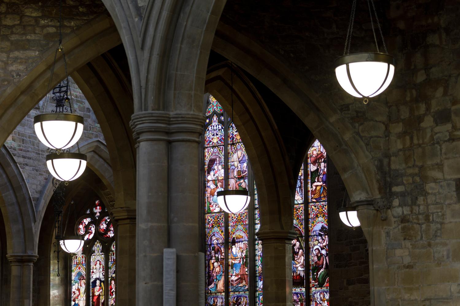 St Mary's church, Melton Mowbray - new pendant lighting