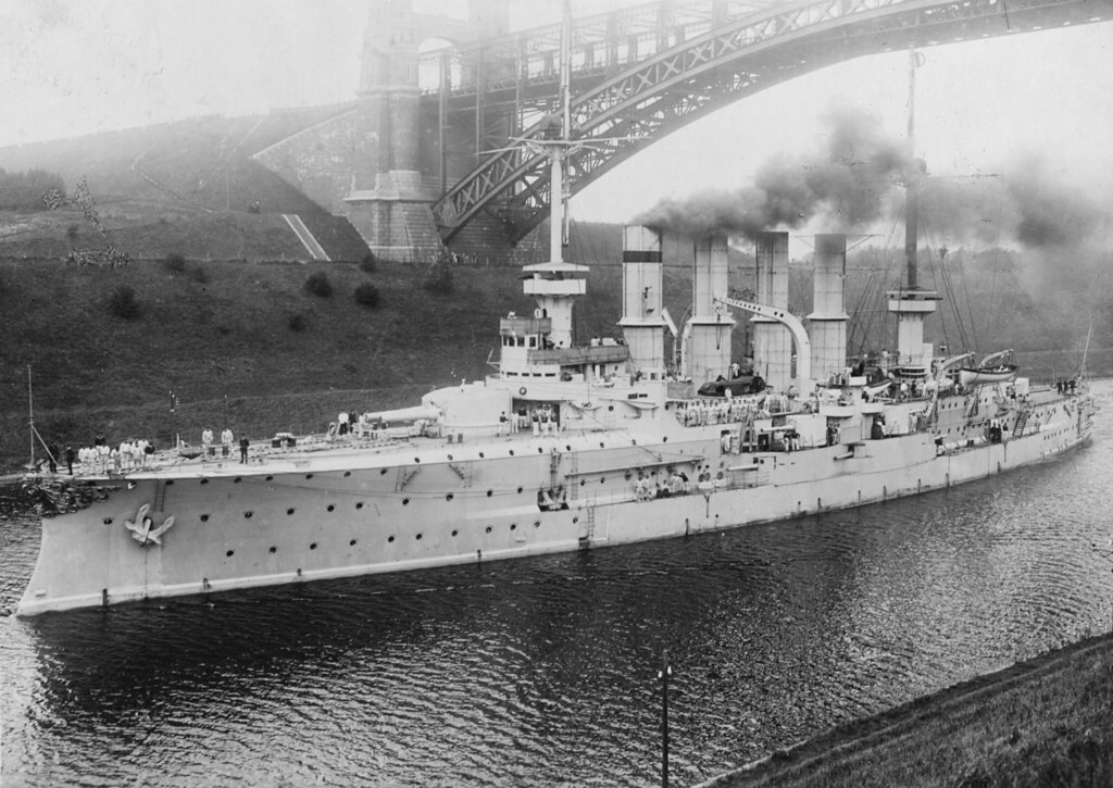 YORCK (German Armored Cruiser, 1905-1914) Photographed by A. Renard of Kiel, Germany, passing under the Levensau Bridge along the Kiel Canal in a print dated about 1910 (The photograph may date from earlier).