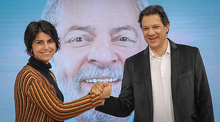 Manuela D'Ávila and Fernando Haddad are running for VP and president in Brazil, respectively. First round will take place on Oct. 7 - Créditos: Ricardo Stuckert