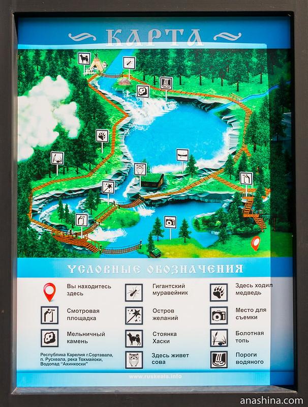 Схема экологической тропы водопада Ахвенкоски