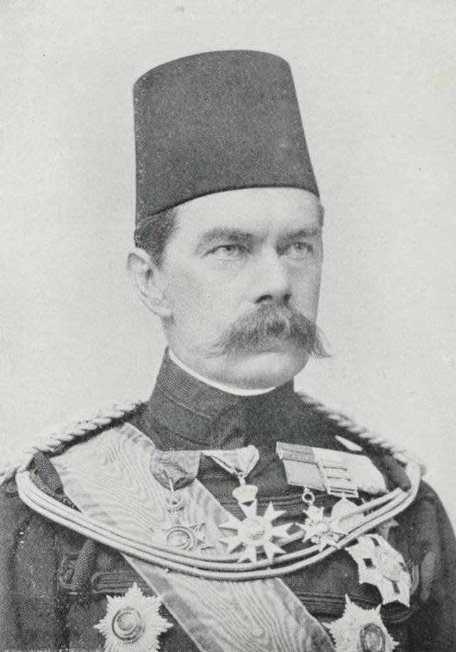 Portrait of Horatio Herbert Kitchener (1850–1916). Lord Kitchener was the Sirdar of the Egyptian Army from 1892 to 1899, and is seen here in full military dress wearing a traditional Egyptian tarboosh.