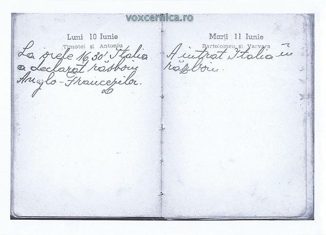 Jurnal personal Marioara Popescu nepoata primului invatator din Tanganu si fiica preotului Popescu Gr. Ioan. 1940
