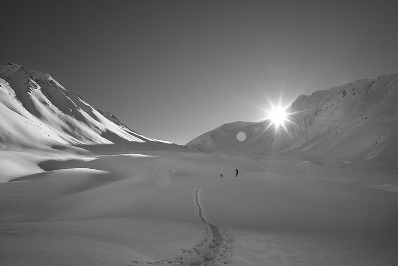 Ski tourers near Gudari, Georgia (Caucasus)