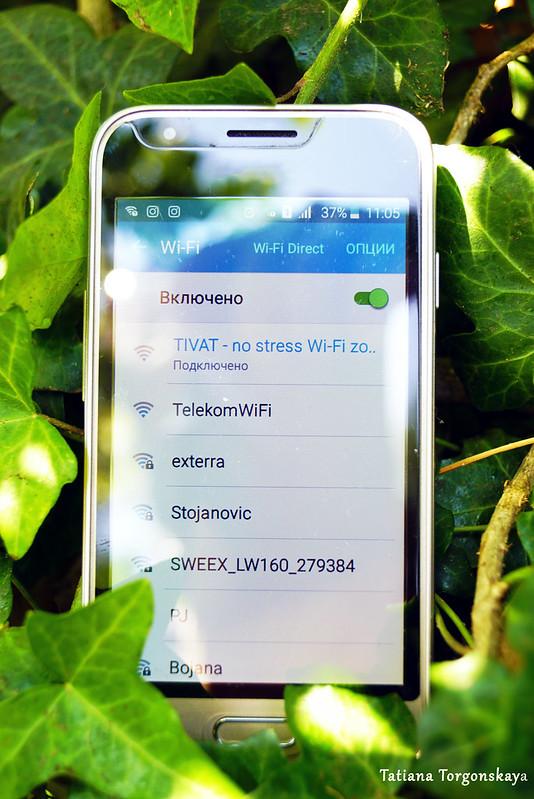 Телефон, подключенный к бесплатному WiFi от ТО Тивата