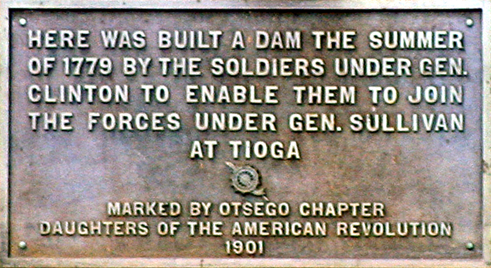 Plaque on the monument for General Clinton's dam at the source of the Susquehanna River in Cooperstown, New York. Photo taken by R.A. Nonenmacher on May 29, 2006.
