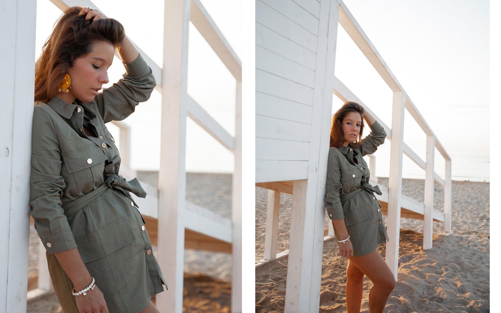 como combinar parka verde diferente vestido khaki loavies nueva coleccion otoño 2018 2019 influencer embarazada barcelona theguestgirl laura santolaria