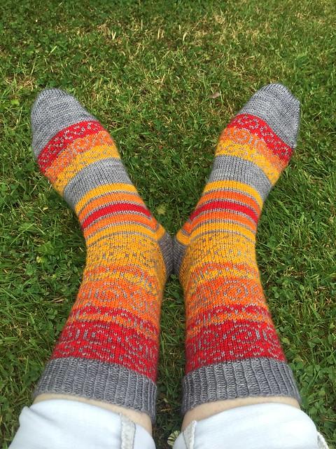 Swirls and stripes socks by Kat Knight 2