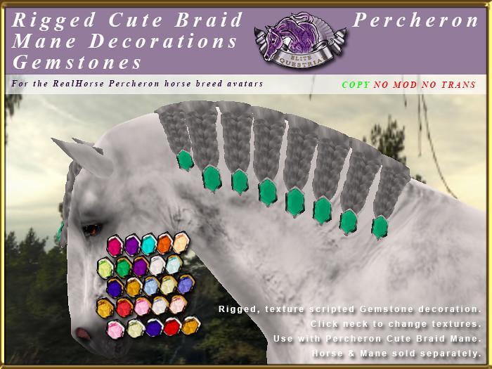 E-RHPercheron-CuteBraidManeDecorations-Gemstones - TeleportHub.com Live!