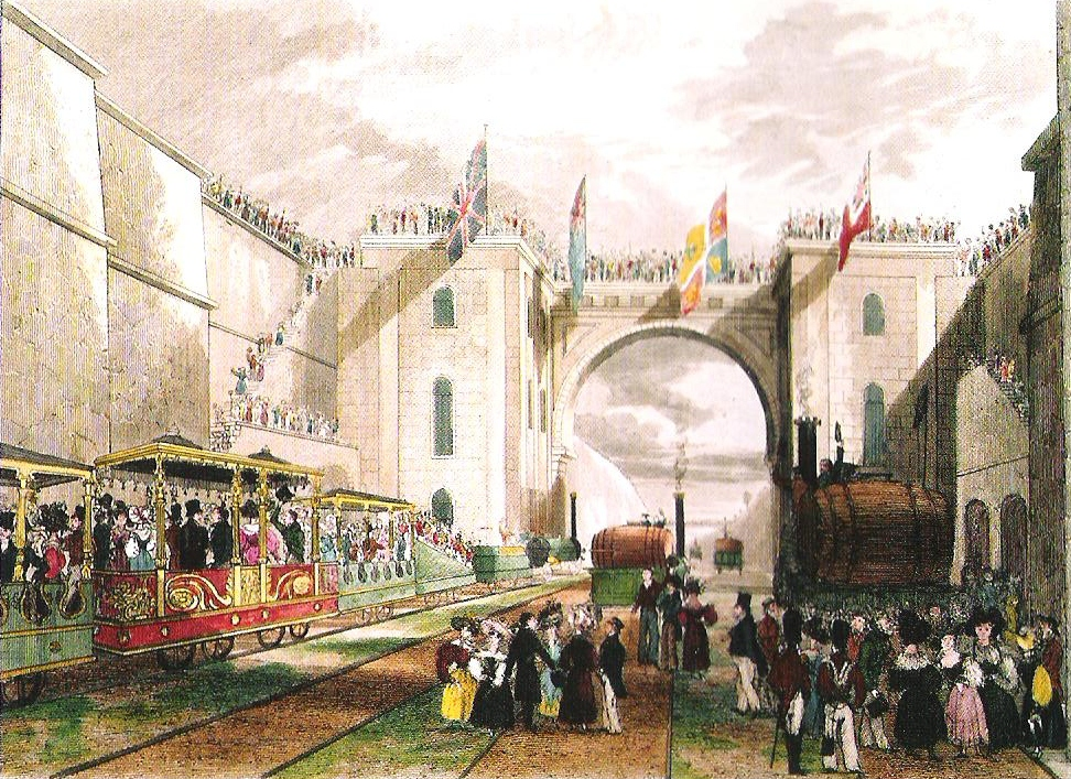 The Duke of Wellington's train and other locomotives being readied for departure from Liverpool, September 15, 1830. Original artist unrecorded; reproduced Gibbon, Richard (2010) Stephenson's Rocket and the Rainhill Trials, Oxford: Shire Books, p. 38.