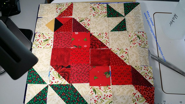 Cardinal block for Christmas in August