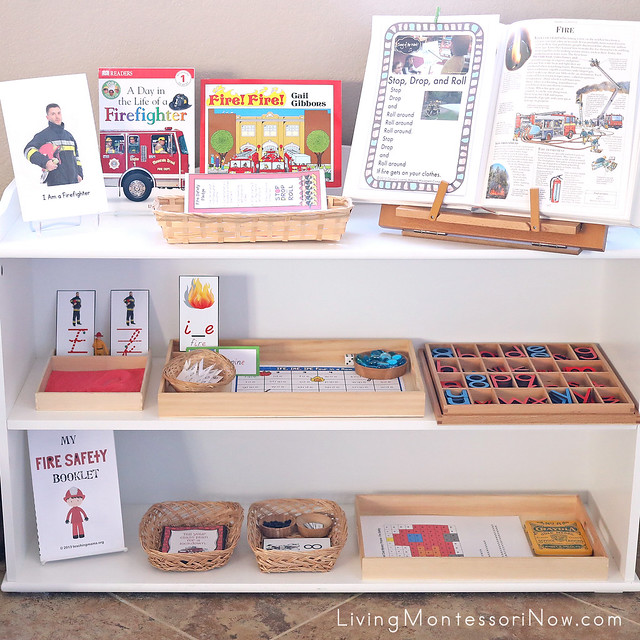Montessori Shelves with Fire-Safety Themed Activities
