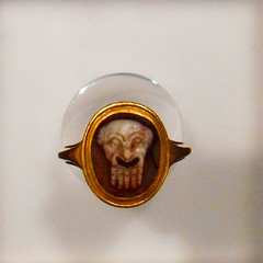 """Ring made from a gem, found (18th century) during the excavations at Pompeii and Herculaneum and placed in a modern setting, worn by the king Charles of Bourbon - Exhibition """"Herculaneum and Pompeii: Vision of Discovery"""" up to September 30, 2018 at the Ar"""