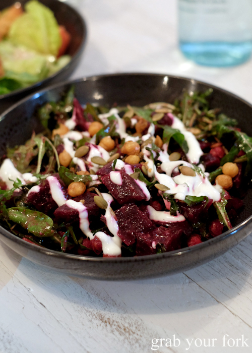 Roasted beetroot salad at Fich seafood restaurant in Petersham Sydney