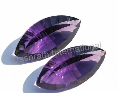 natural amethyst marqusie concave cut gemstone
