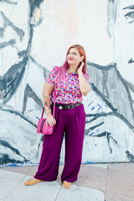 outfit plus size curvy tshirt artigianale misstufi panta palazzo viola (6)