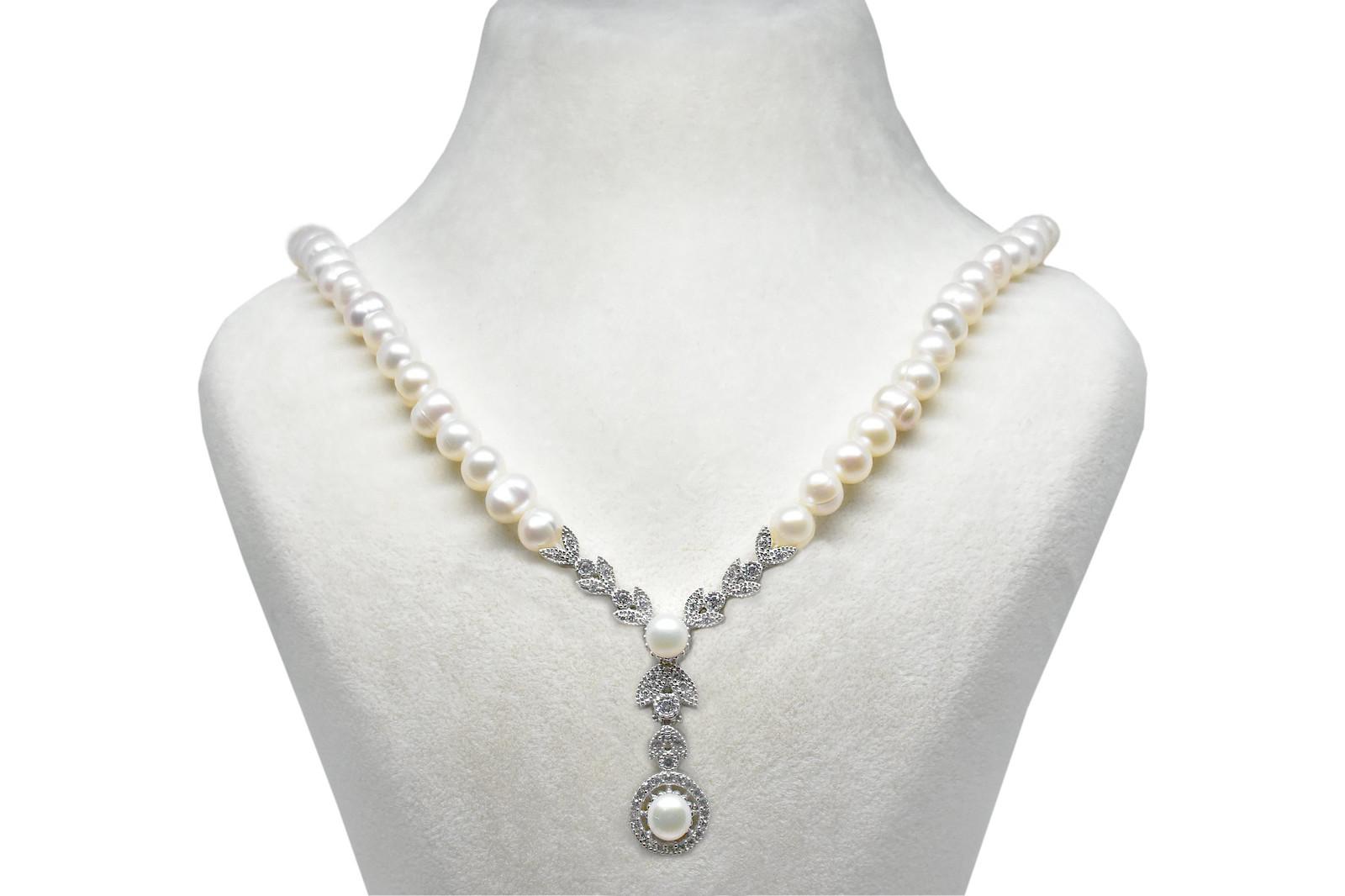 - Ahsen 925K Gümüş Klipsli Doğal Beyaz İnci Kolye-Ah-00039