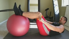 Stability Ball Leg Curls with Bands