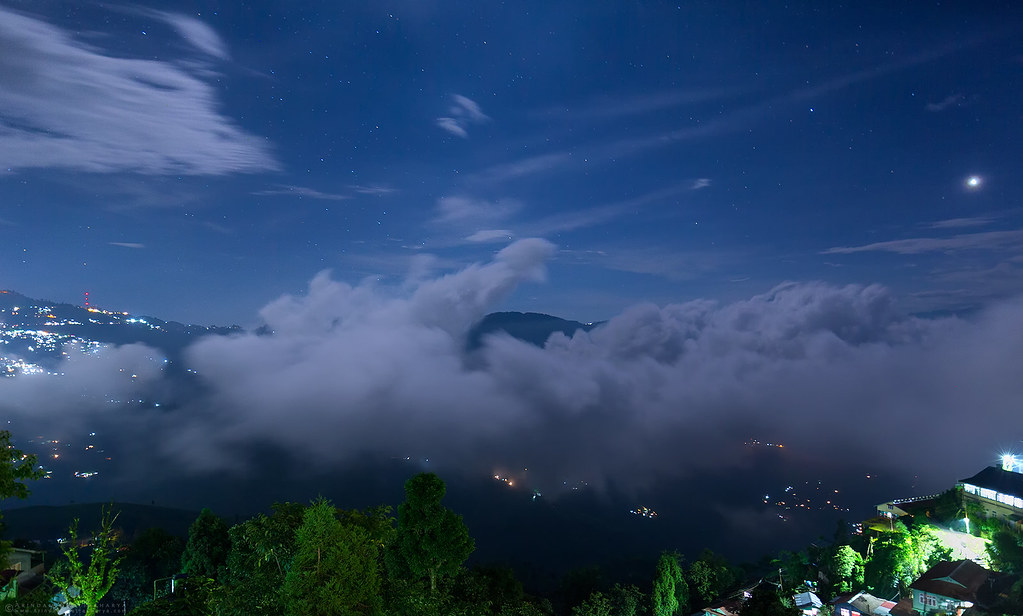 Night starts in the clouds in Darjeeling Himalaya during monsoon