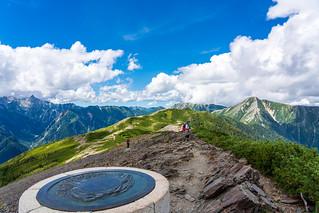 歩いてきた常念岳方面@瞑想の丘
