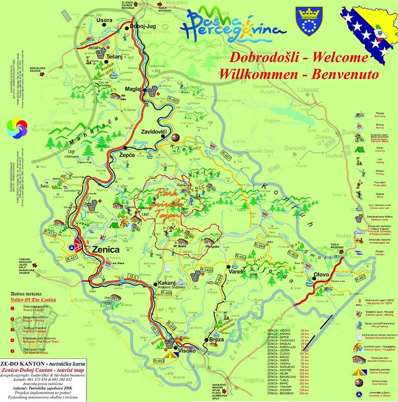 Туристическая карта Зеничко-Добойского кантона