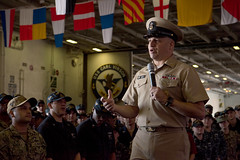 SAN DIEGO (Sept. 19, 2018) Master Chief Petty Officer of the Navy Russell Smith speaks at an all-hands call in the hangar bay of the aircraft carrier USS Carl Vinson (CVN 70). (U.S. Navy photo by Mass Communication Specialist 3rd Class Dylan M. Kinee/Released)