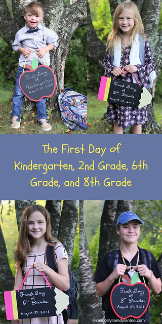 The First Day of Kindergarten, 2nd Grade, 6th Grade, and 8th Grade! #kindergarten #backtoschool #firstdayofschoolphotos #inclusion #specialneeds #downsyndrome