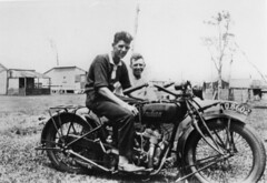 Cousins Eric and Henry Beck on their Indian motorcycle, Cribb Island, 1926