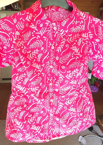 pink fern fitted blouse shirt sewing woven cotton details collar stand fit petite