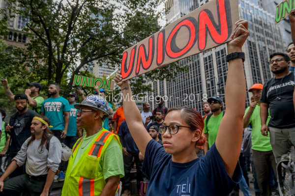 50 union workers arrested at NFL protesting Steve Ross