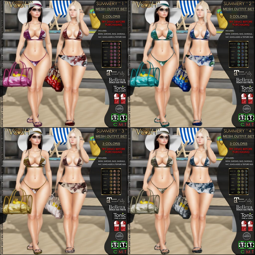 "RELEASE @ "" VOOH "" – SUMMERY OUTFIT SET MIX & MATCH IN 4 VERSIONS - TeleportHub.com Live!"