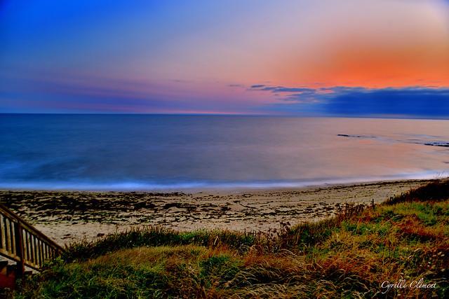 La nuit tombe sur la plage de Guidel