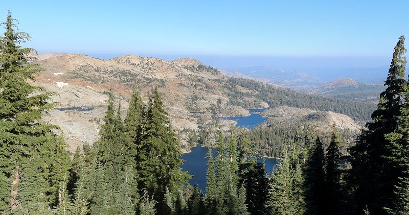 Dicks Lake and Fontanillis Lake from the Pacific Crest Trail just north of Dicks Pass
